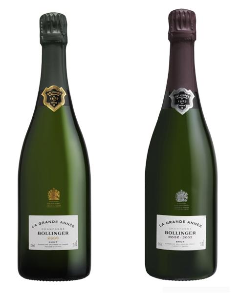 Champagne Bollinger Grande Année Brut 2000 et Rosé 2002
