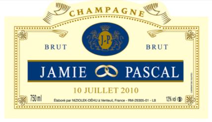 exemple - Etiquette Bouteille Champagne Mariage