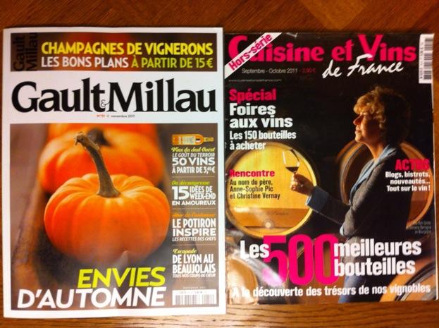 Gault Millau Novembre 2011 & Cuisine et Vins de France hors-série Septembre-Octobre 2011