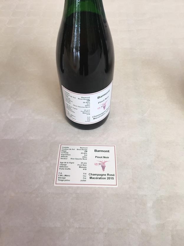 Riceys vins clairs 2015 : futur champagne rosé de macération  100% parcelle Barmont