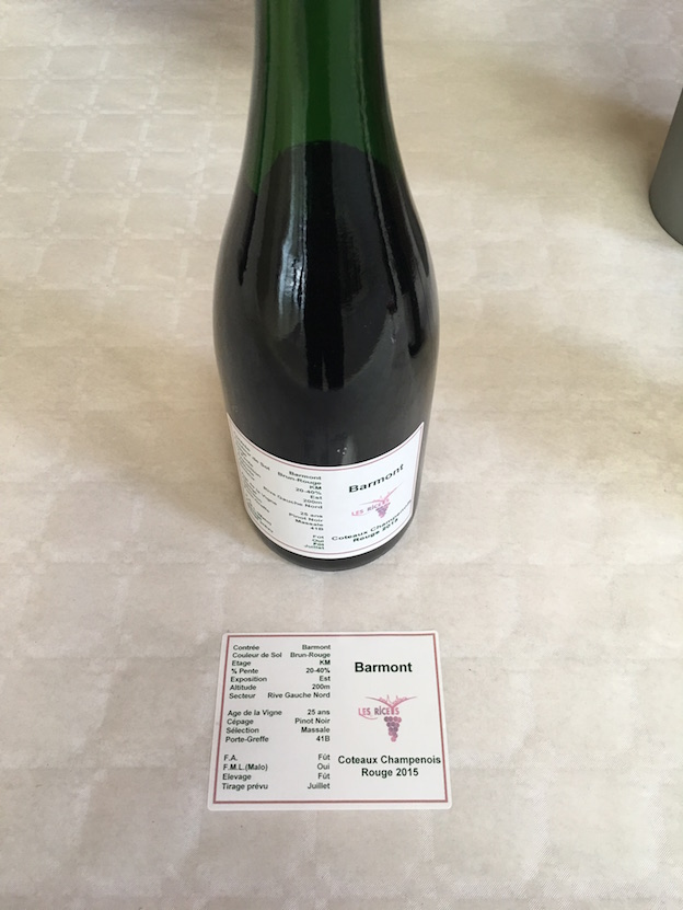 Riceys vins clairs 2015 : parcelle Barmont 100% Pinot Noir