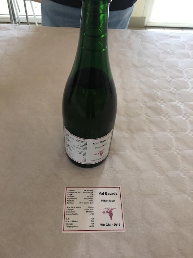 Riceys vins clairs 2015 : parcelle Val Beauroy 100% Pinot Noir sur sol gris
