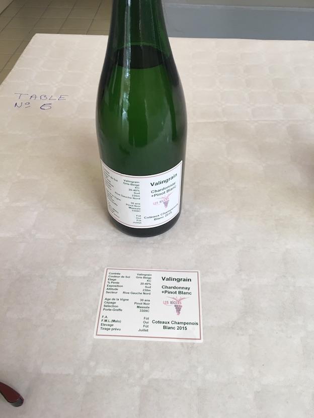 Riceys vins clairs 2015 : Parcelle Valingrain Pinot Blanc + Chardonnay élévés en fûts