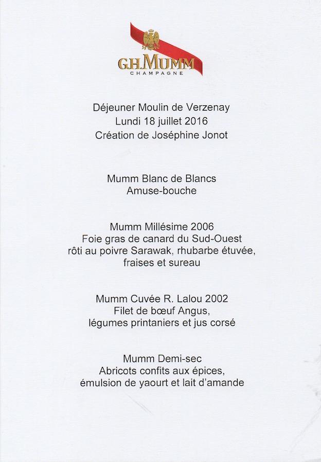 Invitation Mumm pour un déjeuner au Moulin de Verzenay